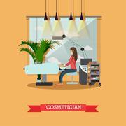 Beauty salon interior vector concept banners. Skin treatment studio Stock Illustration