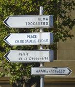 Directions signs in the city of Paris Stock Photos