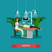 Dentist works with patient vector poster. Dental clinic concept Stock Illustration