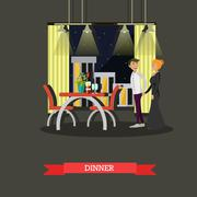 Romantic couple dinner in restaurant. Vector concept poster Piirros