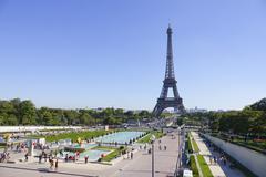 Trocadero Gardens and Eiffel Tower in Paris Stock Photos