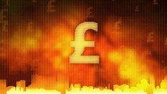 Pound sign rotating. World economy, money circulation, business, stock market Stock Footage