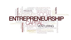 Entrepreneurship animated word cloud. Kinetic typography. Stock Footage