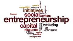 Entrepreneurship animated word cloud Stock Footage