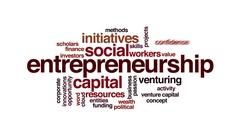 Entrepreneurship animated word cloud. Flying words. Stock Footage