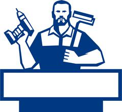 Handyman Bearded Cordless Drill Paintroller Retro Stock Illustration