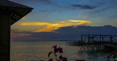 Time lapse of tropical island sunset Stock Footage