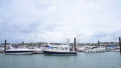 Dolly shot of boats port Stock Footage