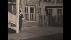 Vintage 16mm film, 1929, milkman delivering milk from horsedrawn milk wagon #2 Stock Footage