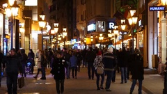 Budapest Hungary people walking pedestrian touristic shopping street Stock Footage