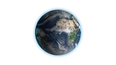 Realistic Earth Rotating on White Loop . Globe is centered in frame, with Stock Footage