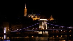 Hungary Budapest - night city lights and the bridge across the Danube Stock Footage
