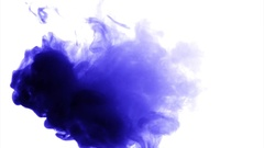 Blue purple cloud smoke / ink on water on white background Stock Footage