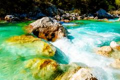 Rivers with beautiful turquoise water. Soca River in Slovenia Stock Photos