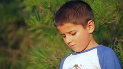 Boy in background of pine branches Stock Footage