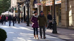 Budapest Hungary young people walking pedestrian touristic shopping street Stock Footage