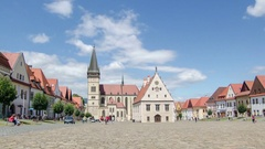 Time lapse of people and clouds in historic center of Bardejov in Slovakia Stock Footage