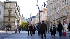Budapest Hungary - buildings architecture people walk the street Stock Footage
