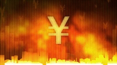 Yen sign pulsing on fiery background, money rules the world, greed, obsession Stock Footage