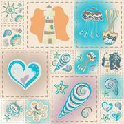 Navy vector seamless pattern. Waves, crab, wheel, anchor, star, heart Stock Illustration