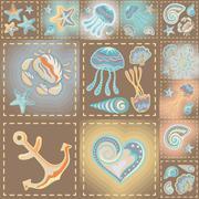 Navy vector seamless pattern. Waves, crab, wheel, anchor, star, heart Stock Illustration