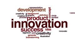Innovation animated word cloud Stock Footage