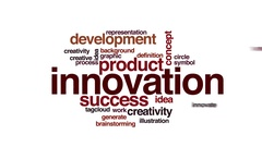 Innovation animated word cloud. Zoom out element. Stock Footage