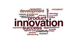 Innovation animated word cloud. Flying words. Stock Footage