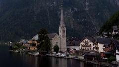 Time Lapse of Cloudy Hallstatt Mountain Village in Austria Stock Footage