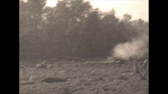 Vintage 16mm film, 1930, construction, slash burn and tractor b-roll Stock Footage