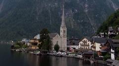 Cloudy Hallstatt Mountain Village in Austria Stock Footage