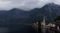 Time Lapse of Cloudy Hallstatt Mountain Village in Austria. Stock Footage