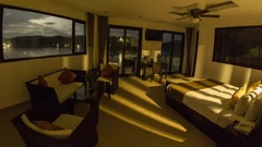 Baushwanga, Resort Interior with Storm, Night to Day Stock Footage