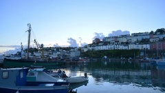 Timelapse of the harbour of brixham in the early morning. Stock Footage