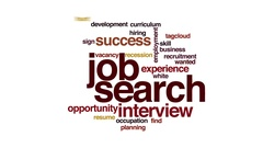 Job search animated word cloud. Zoom out element. Stock Footage