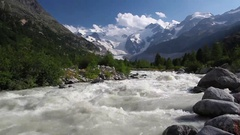 Swiss mountain landscape of the Morteratsch Glacier Valley Stock Footage