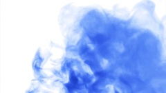 Blue cloud smoke / ink on water on white background Stock Footage