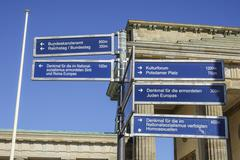 Direction signs to famous tourist attraction in Berlin Stock Photos