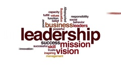 Leadership animated word cloud. Zoom out element. Stock Footage