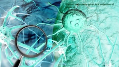 Close up of magnifying glass.Concept of Cancer Cell in human body Arkistovideo