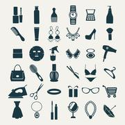 Fashion and women accessories, icons Stock Illustration