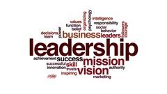 Leadership animated word cloud. Flying words. Stock Footage