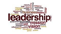 Leadership animated word cloud. 3d camera move. Stock Footage