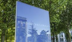 Sign German Chancellery - Bundeskanzleramt Berlin Stock Photos
