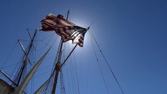 American flag on a sailing frigate. Stock Footage