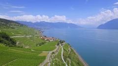 4K Switzerland Lake Geneva cinematic aerial shot Stock Footage