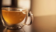 Cup of tea in a cafe drink Stock Footage
