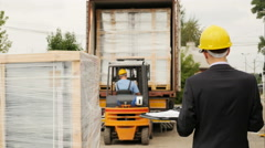 Cargo container loading quality controller Stock Footage