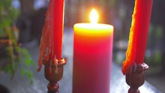 4k candle background wax Stock Footage