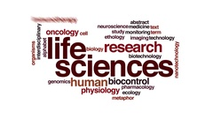 Life sciences animated word cloud. Flying words. Stock Footage